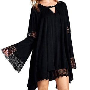 Southern Girl Fashion Tops - SWING TUNIC Lace Bell Sleeve Top Boho Mini Dress