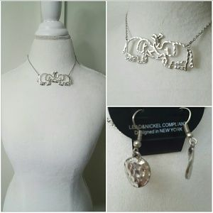 Boutique  Jewelry - ELEPHANT LOVE ICONIC COLLAR NECKLACE SET- SILVER