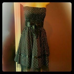 Dresses & Skirts - Black Polka-dot Strapless Dress