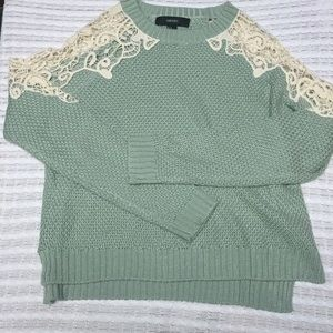 Forever 21 Sage Green Lace Shoulder Sweater Small