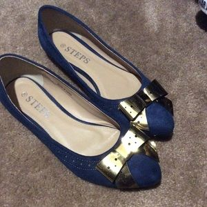 Shoes - Navy bow flats