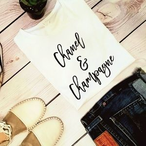 Iconic Legend Tops - Chanel & Champagne T-shirt. NWOT White and Black S