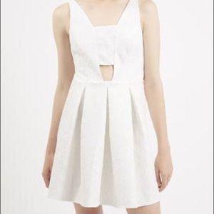 TOPSHOP Women's White Bonded Lace Skater Dress