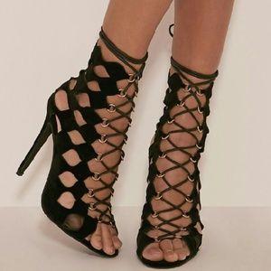 Zara Shoes - Black geometric cut out lace up heels
