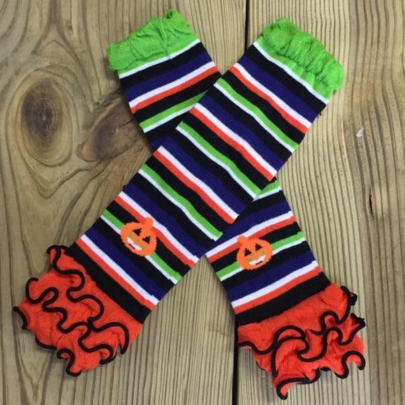 girls halloween pumpkin ruffled leg warmers