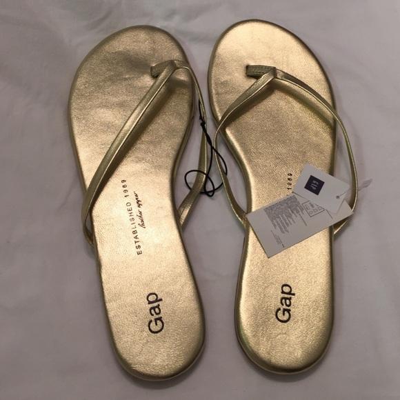 6071348de88b Gap Shoes - Gap Leather Metallic Gold Flip Flops