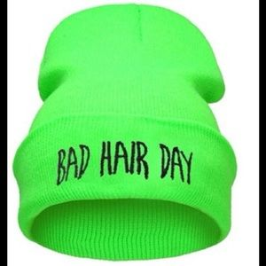 Neon Green Bad Hair Day Beanie