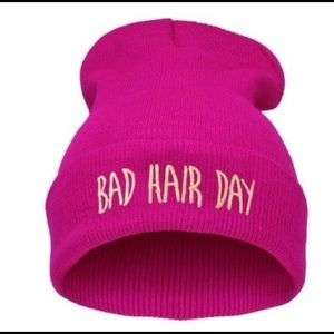 Neon Pink Bad Hair Day Beanie