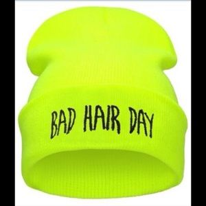  Neon Yellow Bad Hair Day Beanie