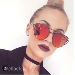 Red Mirror Cateye Women Sunglasses
