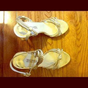 001e8e34da13 ... Michael Kors Gold and Cork Wedge Sandals ...