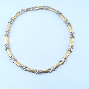 Stylish Gold & Silver Tone Kisses & Bar Necklace