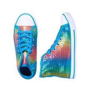 Other - Rainbow sequin high top sneakers