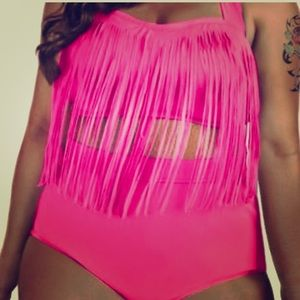 Other - 🏖 Hot pink High waist fringe bikini 🏖