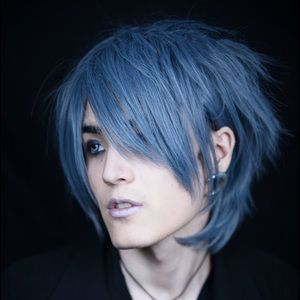 🌙Silver Blue Grey Wig Cosplay Anime Unique Gothic