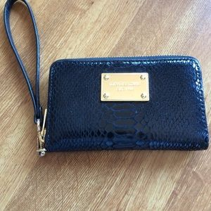 Michael Kors python leather zip around wallet