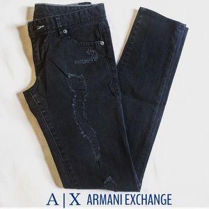 Armani AX Black Distressed Ripped Skinny Jean Sz 4