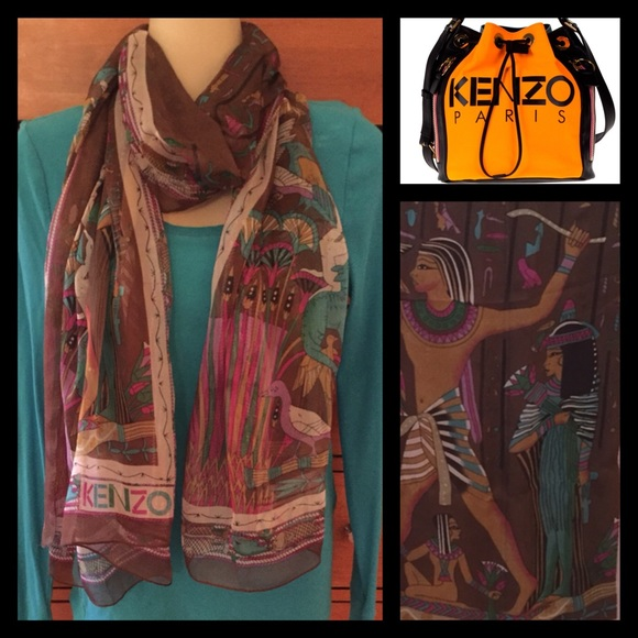 d56dc6ca07414 Kenzo Accessories   Silk Egyptian Theme Luxury Scarf   Poshmark