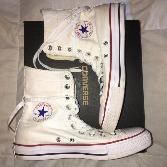 15a2e425b8a5cf Converse Shoes - White Converse Extra High Tops Women s 9 Men s 7