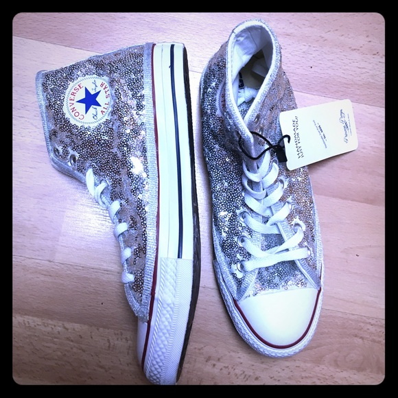 641abb7eb0c3 Converse Silver Sequin Hi Tops Sneakers Shoes