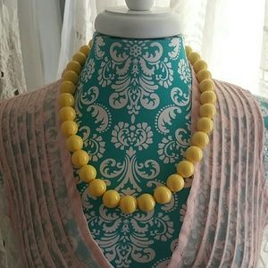 Vintage Yellow Bead Necklace