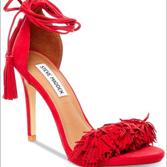 bd1aad069cd Steve Madden Sassey red fringe heels lace up. M 578e5556c28456d30d005256