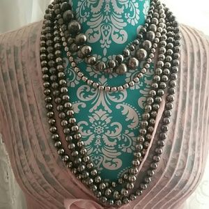 Vintage Silver Plated Bead Necklaces
