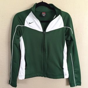 Nike Green & White Dri-Fit Track Jacket