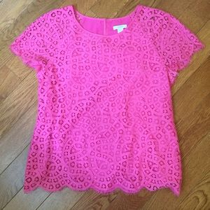 J. Crew Raindrop lace top in Neon Azalea pink