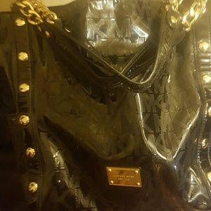 Michael Kors Oversized mirror metallic black Tote
