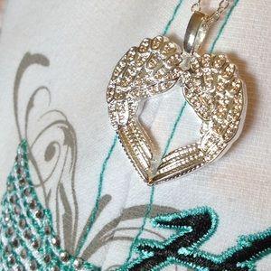 Jewelry - 😇 Angel Wings Heart Necklace .925 Sterling Silver