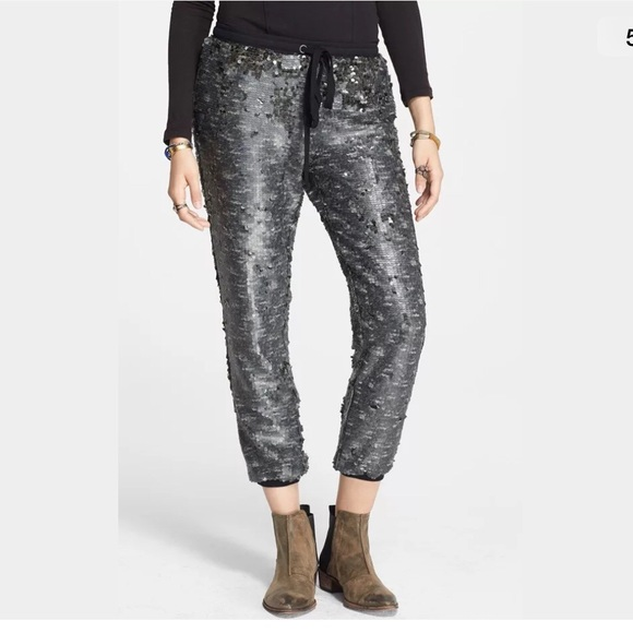 65% off Free People Pants - FREE PEOPLE Sequin Jogger Party Pants ...