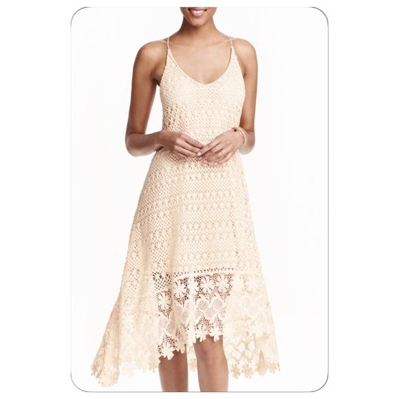 90a3aa6d47a34 H&M Dresses | Beautiful Hm Crochet Bohemian Beige Dress Sz2 | Poshmark