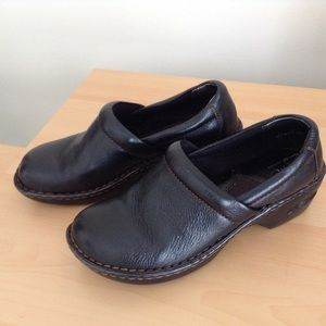 Black leather B.O.C clogs