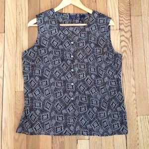 Vintage sleeveless Button-up Top Brown/Black Print