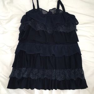 Abercrombie & Fitch Tops - Layered lace navy tank top