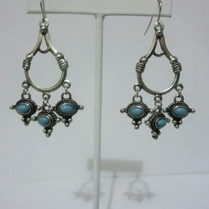 Jewelry - Rustic Silver Tone Turquoise Chandelier Earrings