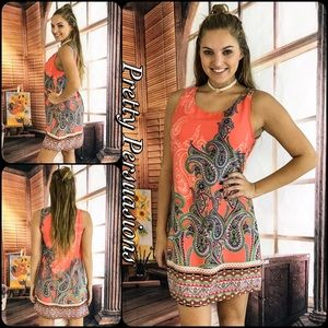 NWT Paisley Border Print Shift Dress