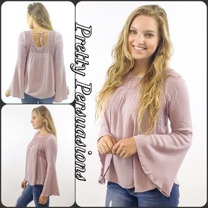 Pretty Persuasions Tops - SALE Dusty Purple Bell Sleeve Lace Peasant Blouse