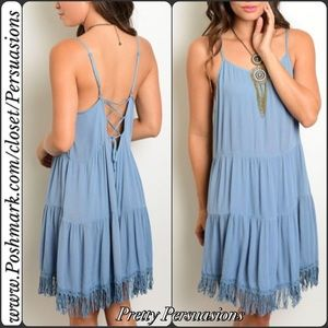Pretty Persuasions Dresses & Skirts - Blue Tiered Ruffle Fringe Hem Lace Up Back Dress