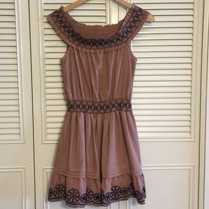 Double Zero Dresses & Skirts - Brown Off the shoulder Summer Dress