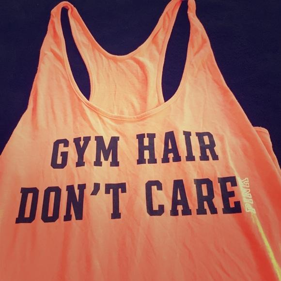 af6da6a9 PINK Victoria's Secret Tops | Gym Hair Dont Care Orange Tank | Poshmark
