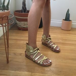 Ancient Greek Sandals Shoes - Ancient Greek Sandals gold metallic wing sandals