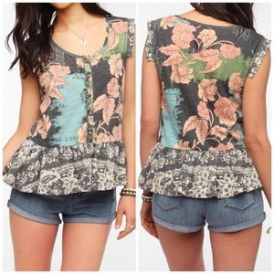 UO Ecote Floral Peplum Top