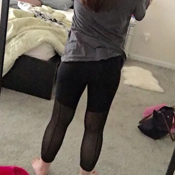 fd08687220 lululemon athletica Pants | Lululemon Crop With Sheer Mesh Panel ...