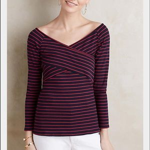 Anthropologie striped off the shoulder tee