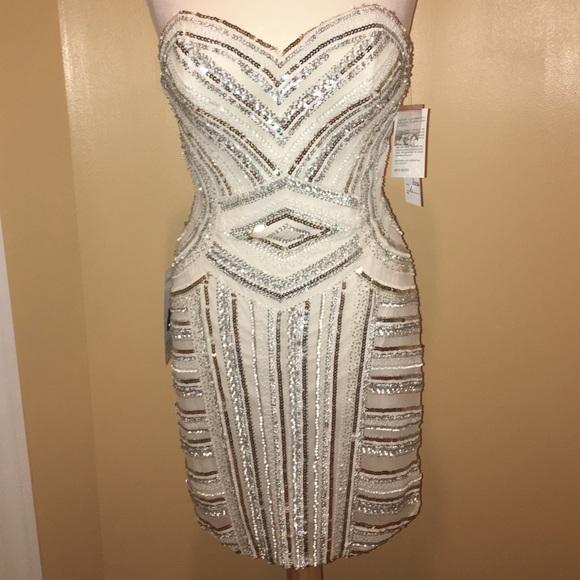 SCALA Dresses & Skirts   WhiteGoldSilver Sequin Cocktail Dress ...