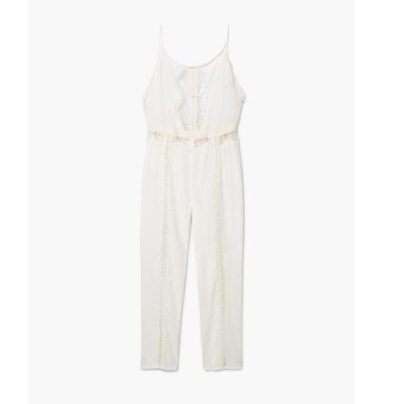 72d85b4aadcd MANGO Lace Jumpsuit (White)