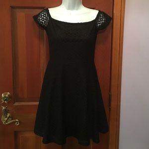Black A line dress with lace overlay