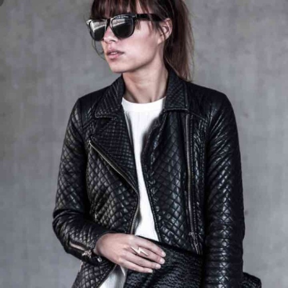 f9f207e8a2 ZARA Trafaluc Quilted Leather Moto Jacket. M 578ed088d14d7bdcf3014127